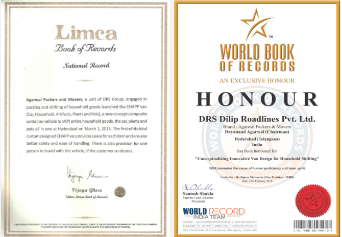 Limca Book of Records & World Book of Records - Agarwal Packers and Movers