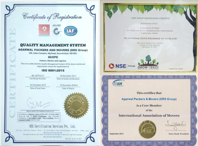 ISO, IAM, and NSE Certification of Agarwal Packers and Movers DRS Group